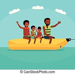 estate, boat., famiglia, appartamento, tour., tempo, vacanza, banana, americano, vettore, mare, africano, sentiero per cavalcate, cartone animato, family., illustration.