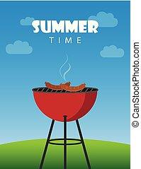 estate, bollitore, salsicce, rosso, tempo, barbecue, bbq