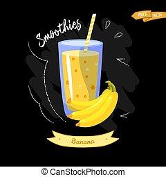 estate, buono, vetro, menu, -, fondo., nero, banana., disegno, smoothies