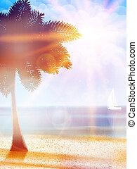 estate, caldo, vacanze, manifesto, template.