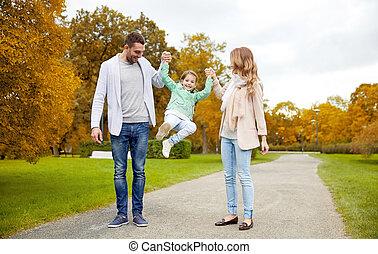 estate, camminare, famiglia, parco, divertimento, detenere, felice