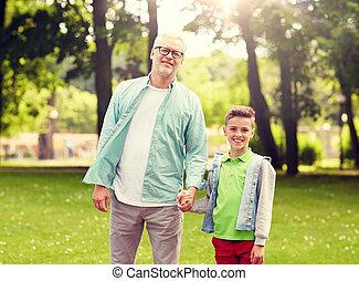 estate, camminare, parco, nipote, nonno