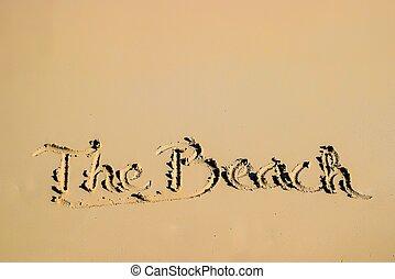 estate, campeggiare, scritto, spiaggia, lato, sabbioso