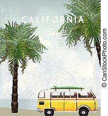 estate, campeggio, automobile, viaggiare, sfondi, albero, california, scheda, vector., palma, roulotte