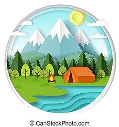 estate, campeggio, vettore, carta, taglio, illustrazione