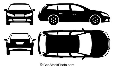 Estate car silhouette vector illustration with side, front, back, top view