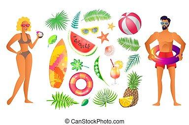 estate, cartellone, bandiera, campione, vettore, festa, spiaggia