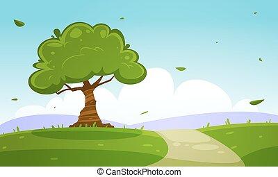 estate, cartone animato, paesaggio