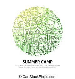 estate, cerchio, concetto, campeggiare