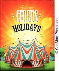 estate, circo, vacanze, manifesto