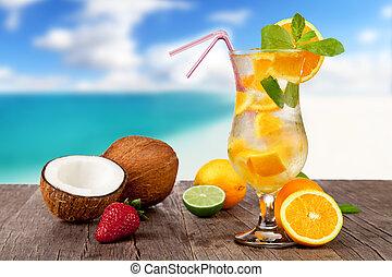 estate,  cocktail, legno, spiaggia, pezzi, frutta, fondo, offuscamento, tavola