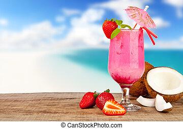 estate, cocktail, legno, spiaggia, pezzi, frutta, fondo, offuscamento, tavola.