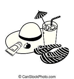 estate, cocktail, paglia, flops vibrazione, cappello