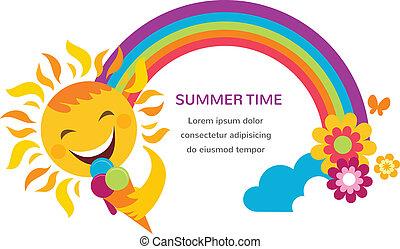 estate, colorito, arcobaleno, illustrazione, flowers., sole, felice
