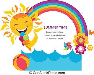estate, colorito, arcobaleno, sole, fiori, scheda, felice