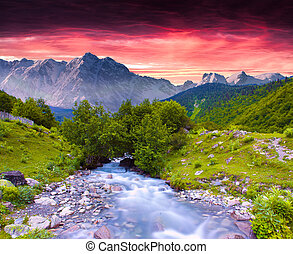 estate, colorito, enorme, tramonto, fiume, montagne., ...