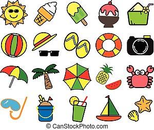 estate, colorito, varietà, articoli, simbolo, fondo, bianco, icona