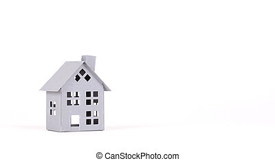 Estate concept, metal house on isolated white background