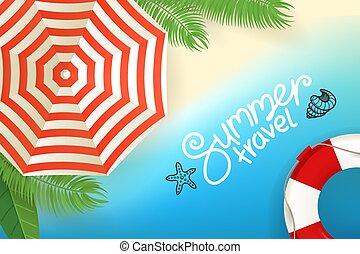 estate, concept., tropicale, vettore, spiaggia, viaggiare