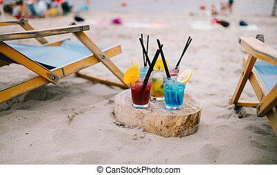 estate, concept., vacanza, fondo., offuscamento, spiaggia, bibite