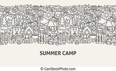 estate, concetto, bandiera, campeggiare