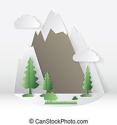 estate, concetto, campeggio, alberi., illustrazione, carta, taglio, vettore, style., montagna