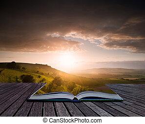 estate, concetto, immagine, creativo, libro, pagine, paesaggio