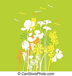 estate, concetto, medaw, illustrazione, vettore, appartamento, floreale, fiori, dragonfly.