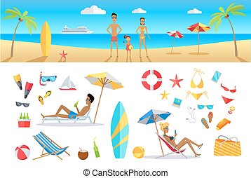 estate, concetto, set, vacanza, sagoma