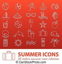 estate, contorno, icone
