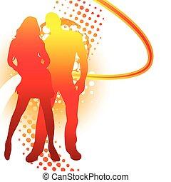 estate, coppia, silhouette