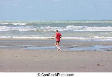 estate, correndo, spiaggia, soleggiato, uomo