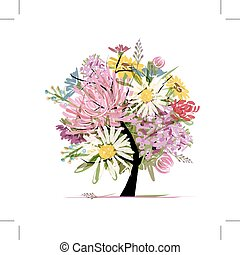 estate, cuore, mazzolino, forma, disegno, floreale, tuo