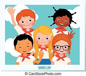 estate, differente, gruppo, illustration., camp., foto, polaroid, bambini, vettore, nazionalità, felice, cartone animato, casato