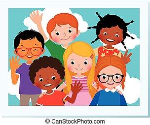 estate, differente, gruppo, illustration., foto, campeggiare, cartone animato, vettore, nazionalità, casato, bambini, felice