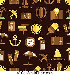 estate, differente, spiaggia, seamless, collezione, fondo., ...