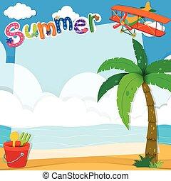 estate, disegno, spiaggia, bordo