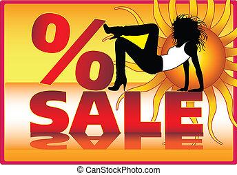 estate, disegno, vendita, vettore, manifesto