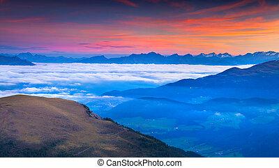 estate, Dolomiti, alpi, montagne, nebbioso, alba, italiano
