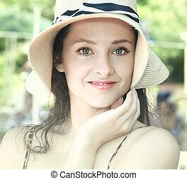 estate, donna, bellezza, fondo., closeup, ritratto, cappello