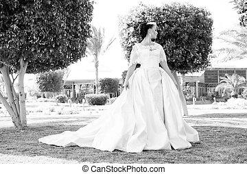 estate, donna, brunetta, gioielleria, bellezza, sguardo, dress., face., trucco, modello, makeup., fascino, sposa, moda, hair., diadema, ragazza, matrimonio, bianco, sensuale, giardino