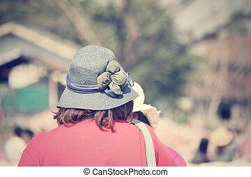 estate, donna, cappello