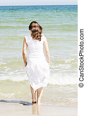 estate, donna felice, spiaggia