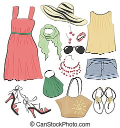 estate, donna, set., accessori, collezione, moda, vestire, vestiti casuali