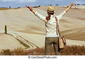estate, donna, toscana, turista, adattare, tripudio, traccia, segno, scia