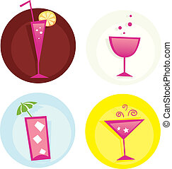 estate, drinks., miscelare, iconset., caldo, vector., bibite