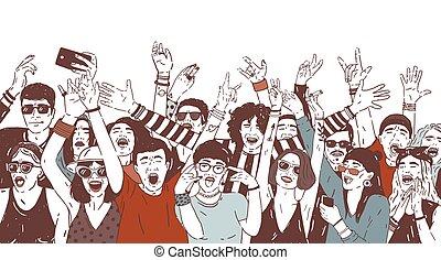 estate, elevato, folla, persone, grida, canto, ballo, aperto, ventilatori, musica, disegnato, eccitato felice, spettatori, festival., mano, hands., colorato, illustration., aria, realistico, pubblico, vettore, o