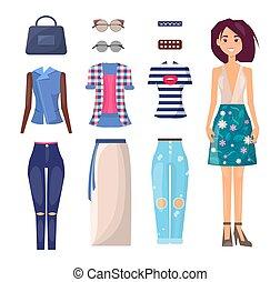 estate, equipaggiamento, risparmiare, ragazza, vestiti casuali