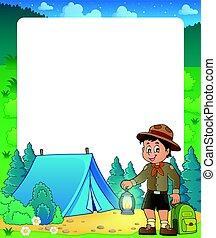 estate, esploratore, ragazzo, cornice, tema, 2