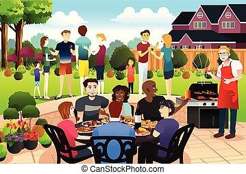 estate, famiglia, gather insieme, festa, amici, detenere, bbq